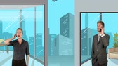 stojící : Mix of a vector illustration and traditional video that is showing a woman and a man over the phone in two separate buildings in a big city, with a plane crossing the sky