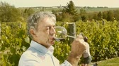 рамка : A wine grower testing his wine in front of a vineyard background (dolly) Стоковые видеозаписи