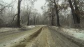 asphalt : A Point of View (POV) drive in an ice storm in winter