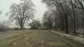 путешествие : A Point of View (POV) drive through a snow storm in winter
