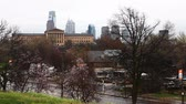 philadelphia pennsylvania : Philadelphia cityscape with blossoms in the foreground Stock Footage