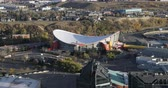 luk : Aerial of the Saddledome arena in Calgary, Canada 4K
