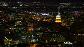 Aerial timelapse, San Antonio city center at night 4K