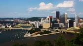 pensilvanya : Aerial timelapse of the Pittsburgh city center 4K Stok Video