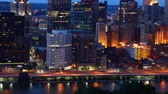 Night to day timelapse of the Pittsburgh, Pennsylvania city center 4K Dostupné videozáznamy