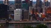 Day to night timelapse of the Pittsburgh, Pennsylvania city center 4K