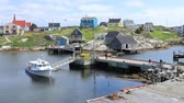 enseada : Timelapse of colorful buildings at Peggys Cove in Nova Scotia 4K