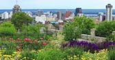 niagara : View of Hamilton, Canada, city center with flowers in front 4K