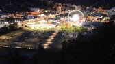 niagara : Timelapse aerial downtown Niagara Falls at night 4K