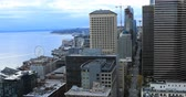 Сиэтл : Aerial of the Seattle, Washington downtown 4K
