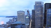 Сиэтл : Timelapse day to night Seattle, Washington city center 4K Стоковые видеозаписи