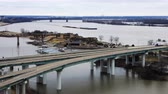 eyaletler arası : Timelapse of River barge on Mississippi River at Memphis, Tennessee 4K Stok Video