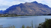falu : Timelapse Queenstown, New Zealand with sea and mountains 4K Stock mozgókép