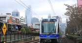 Rapid Transit leaving a station in Charlotte, North Carolina 4K