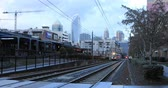 Rapid Transit arriving in station in Charlotte, North Carolina 4K