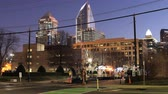 Timelapse of Charlotte, North Carolina downtown night to day 4K