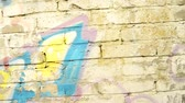 urbane : Graffiti on a city wall with camera tracking Stock Footage