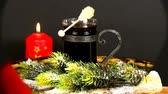 spiced : angel with burning candle and hot red wine punch on turn table