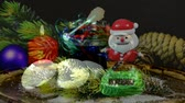 postacie : Christmas decoration with Santa Claus, cakes and hot red wine punch