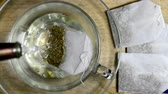 мята : Peppermint tea, infusion and herb on a turn table Стоковые видеозаписи