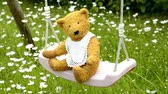 stuffed animal : home made teddy on a swing in a garden with marguerites in spring Stock Footage
