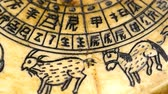 Antique Chinese Feng Shui compass with 12 sign of the chinese zodiac