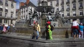 NANTES, FRANCE - September 2017: Fountain in the center of Nantes in France, flash mob