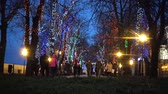 theme : UKRAINE, Odessa - 29 December 2017: Night LED illumination on Primorsky Boulevard in Odessa