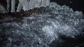 refração : Frozen stream. Snowy and icy stones in water. Icicle bellow waterfall, stony and snowy stream bank with fallen branches. Stock Footage