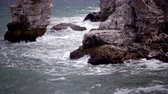 sea caves : Storm on the sea in the Black Sea, stone coast, Bulgaria, near the village of Tyulenovo