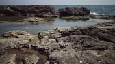 港 : Coastal baths on a rocky shore near the water on the Black Sea, Bulgaria