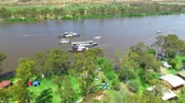 tekneler : Aerial footage River Murray at Mannum or Paddlesteamers during the Steam Festival Stok Video
