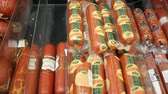 paprika salami : NOVOSIBIRSK, RUSSIA - July 31,2016: sale of fresh sausages on the counter