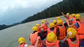 strength : GORNO-ALTAYSK, RUSSIA - August 4,2016: people rafting on a mountain river Stock Footage