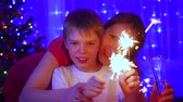 sparkler : Happy family lit sparklers at the party. In the background, bokeh lights and garlands of Christmas fir