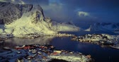 noruega : Reine from drone, march, Lofoten islands, Norway