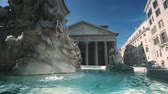 antik : Pantheon mit Brunnen, Rom, Italien Stock Footage