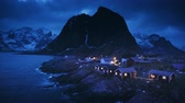 pesca : fisherman village Hamnoy by night, Lofoten Islands, Norway