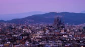 на крыше : Barcelona in sunset time, Spain, timelapse Стоковые видеозаписи