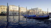 canal : gondolas in Venice, Italy. Stock Footage