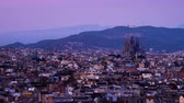 espanha : Barcelona in sunset time, Spain, timelapse Stock Footage