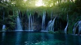 arbusto : Waterfall in forest, Plitvice, Croatia Stock Footage
