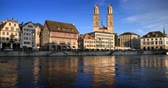 catedral : Zurich city center with famous Grossmunster and river Limmat, Switzerland