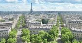 triumphal arch : panoramic view of Paris, Champs Elysees and the Eiffel Tower Stock Footage