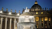 night time : Bernini fountain, Saint Peters square, Vatican City