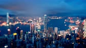 hong kong skyline : Hong Kong from Victoria peak, ltilt shift time lapse