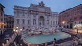 time lapse, sunrise time, Trevi Fountain in Rome, Italy Stok Video