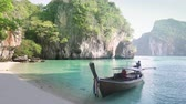 ong boat and small Koh Lao Lading island, Thailand Stok Video