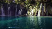 trawa : waterfall in forest Plitvice Lakes National Park, Croatia