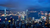 hong kong skyline : Hong Kong from Victoria peak, tilt shift time lapse Stock Footage